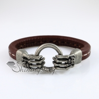hand skull round snap wrap bracelets genuine leather