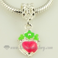 heart enamel european large hole charms fit for bracelets