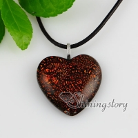 heart fancy color dichroic foil glass necklaces with pendants jewelry