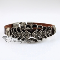 heart fleur de lis genuine leather