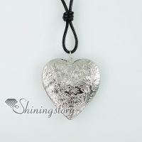 heart genuine leather copper silver plated locket filigree necklaces with pendants
