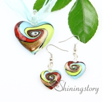 heart glitter swirled pattern lampwork murano italian venetian handmade glass pendants and earrings jewelry sets