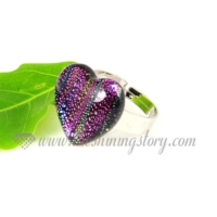 heart handmade dichroic glass finger rings jewelry