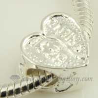 heart silver plated european charms fit for bracelets