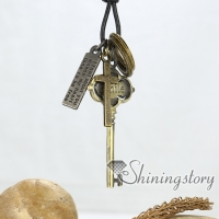 key cross nameplate circle genuine leather copper metal stainless steel necklaces with pendants