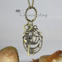 key crown bronze antique long chain pendants necklaces