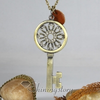 key openwork brass antique long chain pendants necklaces