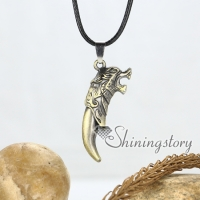 knife dragon genuine leather copper metal necklaces with pendants