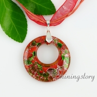 lampwork murano glass pendants circle silver foil millefiori circle silver foil millefiori necklaces with pendants