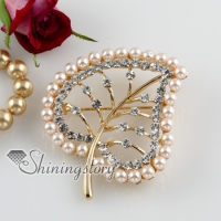 leaf rhinestone pearls openwork scarf brooch pin jewelry