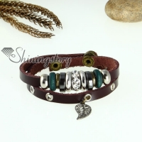 leaf two layer genuine leather wrap bracelets