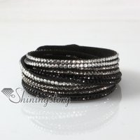 leather crystal rhinestone multi layer rainbow color snap wrap slake bracelets