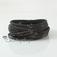 leather crystal rhinestone multi layer snap wrap slake bracelets
