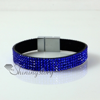 leather crystal rhinestone snap wrap slake bracelets