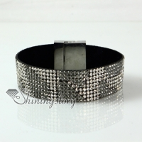 leather crystal rhinestone snap wrap bracelets