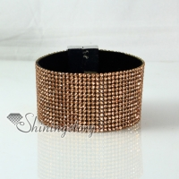 leather crystal rhinestone snap wrap slake bracelets fashion leather bracelet jewelry