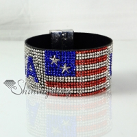leather crystal rhinestone uk usa flag snap wrap slake bracelets