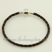 leather european bracelets fit for big hole charms beads