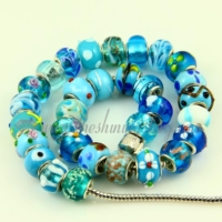 light blue murano glass beads for fit charms bracelets