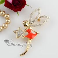 little fairy rhinestone scarf brooch pin jewelry