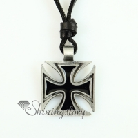 malta cross square genuine leather necklaces with pendants