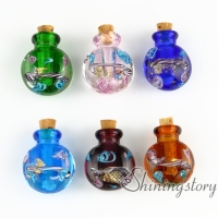 miniature glass bottles urn charms jewelry for cremation ashes locket