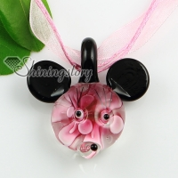 mouse with flowers inside lampwork glass necklaces pendants