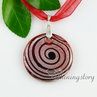 murano glass pendants round silver foil swirled lampwork necklaces with pendants
