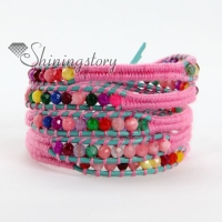 natural stone bead beaded leather wrap bracelets