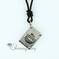 oblong genuine leather locket necklaces with pendants