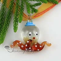 octopus with flowers inside itailian lampwork murano glass necklaces pendants