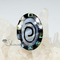 oval olive patchwork sea water rainbow abalone black oyster shellmother of pearl finger rings jewelry