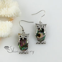 oval owl rainbow abalone shell dangle earrings hand made jewelry