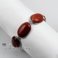 oval semi precious stone agate rose quartz charm toggle bracelets jewelry