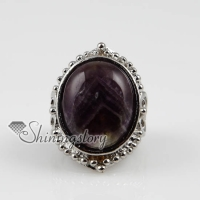 oval semi precious stone natural rose quartz tiger's-eye amethyst finger rings jewelry
