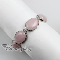 oval semi precious stone rose quartz glass opal charm toggle bracelets jewelry