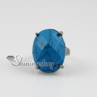 oval semi precious stone turquoise finger rings jewelry
