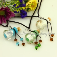 vintage perfume bottle pendant necklace small wish bottle pendant necklace wholesale supplier handcrafted murano glass glitter jewellery