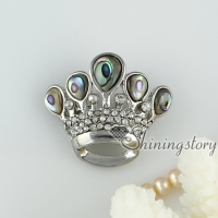 pink oyster shell rainbow abalone shell rhinestone crown openwork brooch mother of pearl jewellry