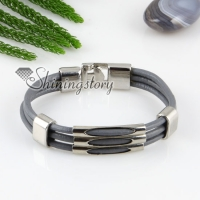 pu leather charm three layer buckle bracelets unisex