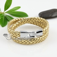 pu leather double layer woven bracelets unisex