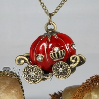 pumpkin carriage antique long chain pendants necklaces