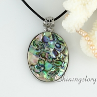 rainbow abalone sea shell heart pendants oval openwork patchwork necklaces mop jewellery