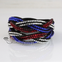 rainbow color double layer crystal rhinestone slake bracelets wristbands genuine leather wrap woven bracelets