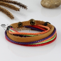 rainbow cotton cord genuine leather wrap bracelets
