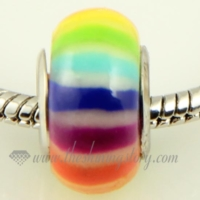 rainbow polymer clay big hole beads for fit charms bracelets