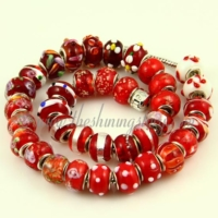 red lampwork glass big hole beads for fit charms bracelets