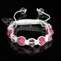 rhinestone and crystal beads macrame bracelets white cord