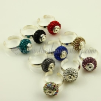 rhinestone big hole beads free size finger rings jewelry