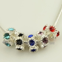 rhinestone flower european charms fit for bracelets